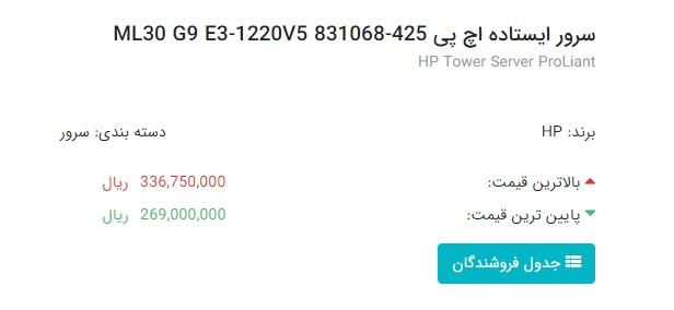 قیمت سرور HP در شهریور 99